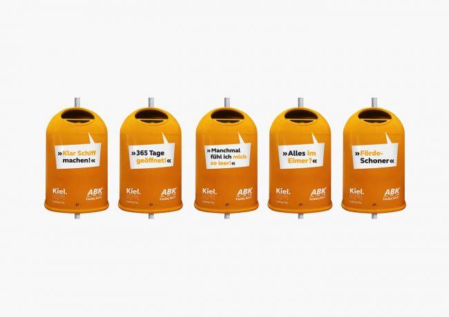 Gestaltung von WortBildTon der Mülleimer des Abfallwirtschaftsbetrieb Kiel