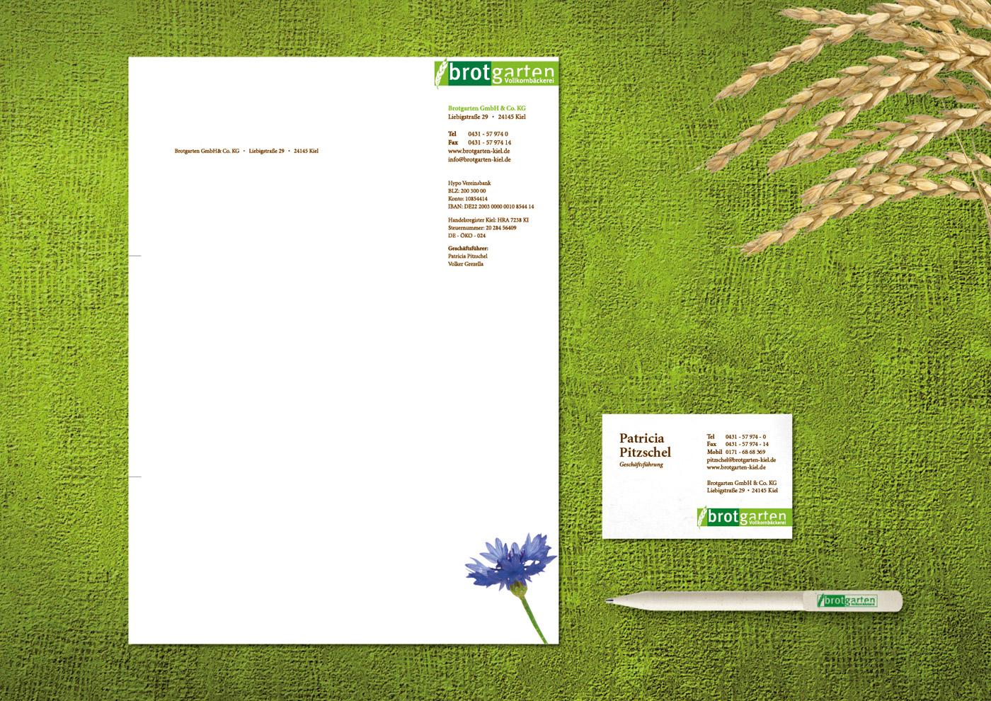 Relaunch CD und Markenführung für die Biobäckerei Brotgarten: Geschäftsausstattung