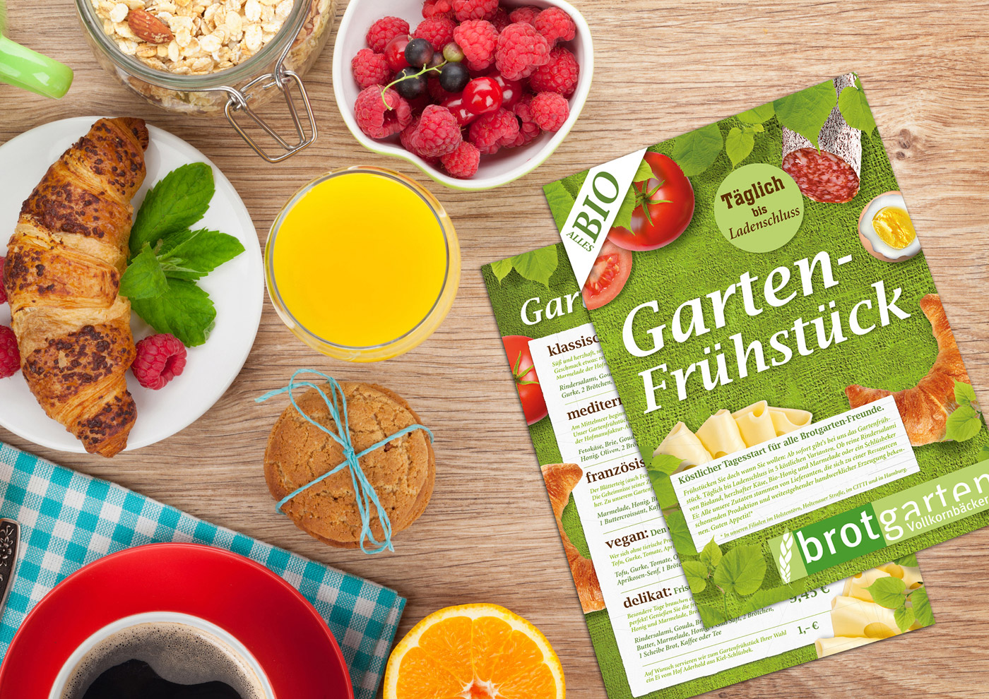 Relaunch CD und Markenführung für die Biobäckerei Brotgarten: Infoflyer