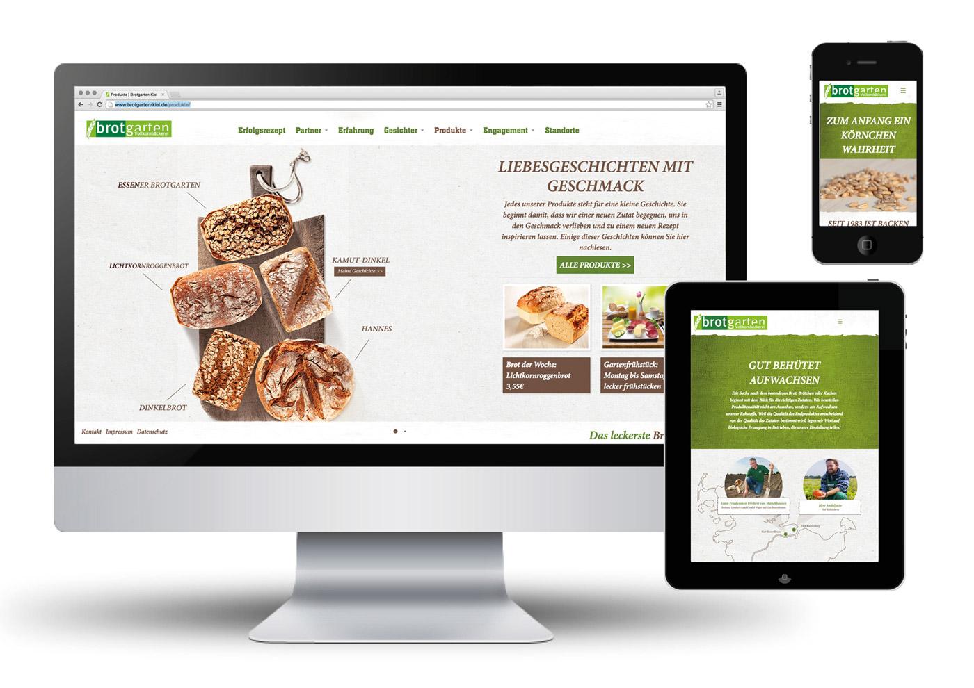 Relaunch CD und Markenführung für die Biobäckerei Brotgarten: Internet