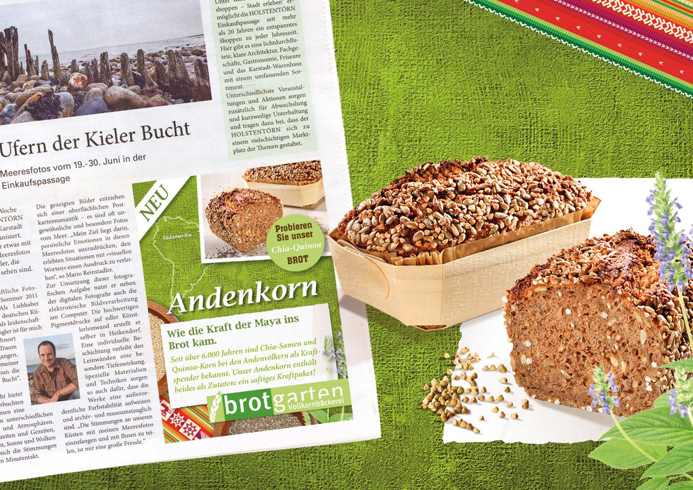 Relaunch CD und Markenführung für die Biobäckerei Brotgarten: Printanzeigen