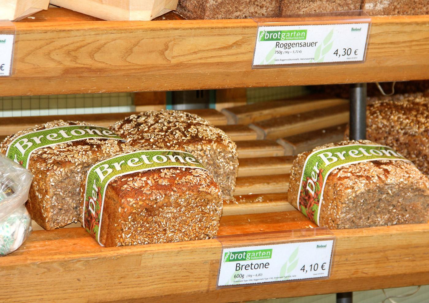 Relaunch CD und Markenführung für die Biobäckerei Brotgarten: Banderole für exklusives Algenbrot