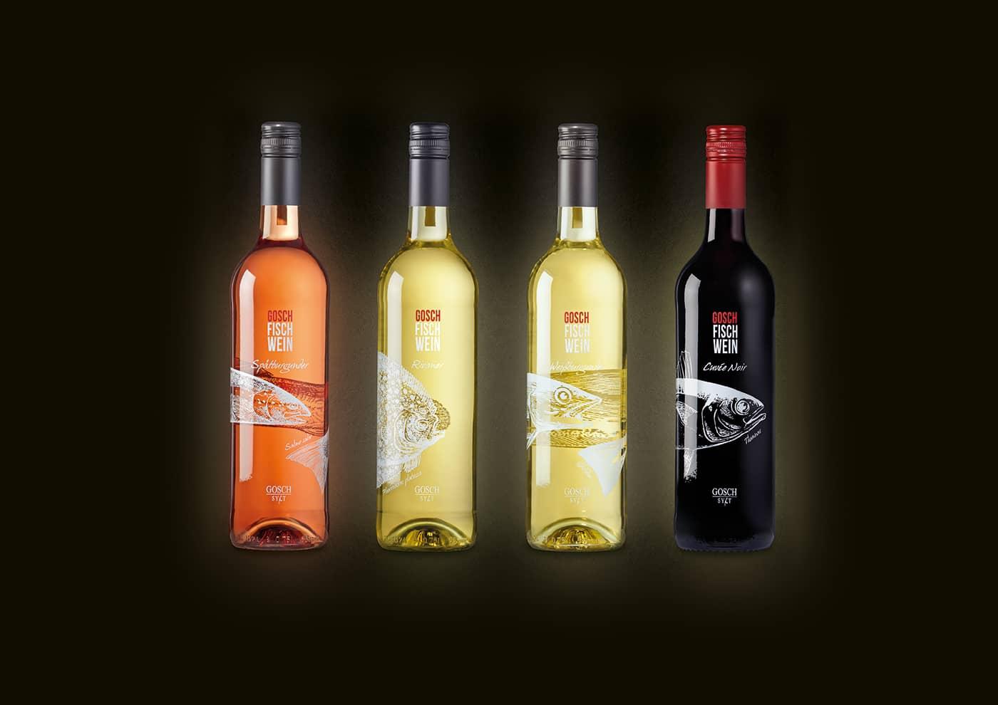 Markenentwicklung GOSCH-FISCH-WEINE: Flaschen-Design