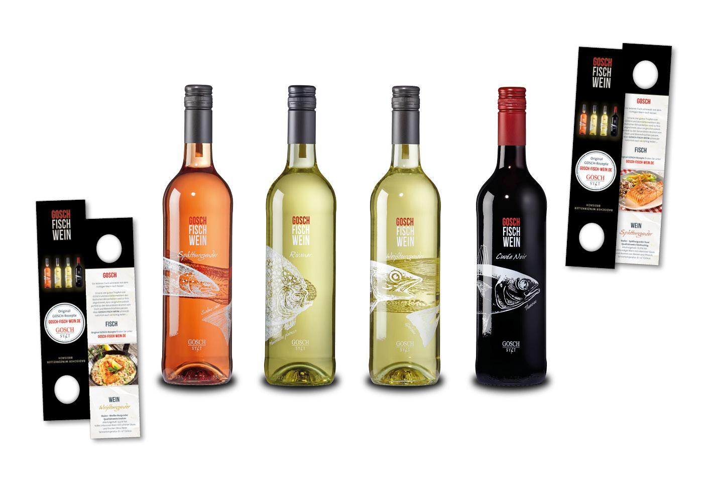 Markenentwicklung GOSCH-FISCH-WEINE: Flaschenhänger