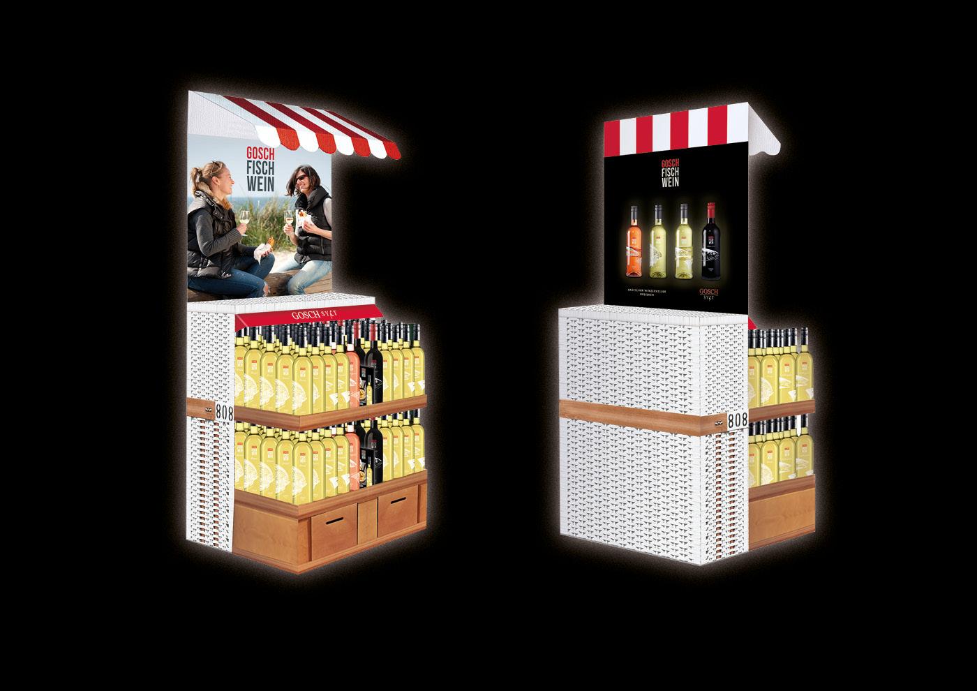Markenentwicklung GOSCH-FISCH-WEINE: Verkaufs-Display
