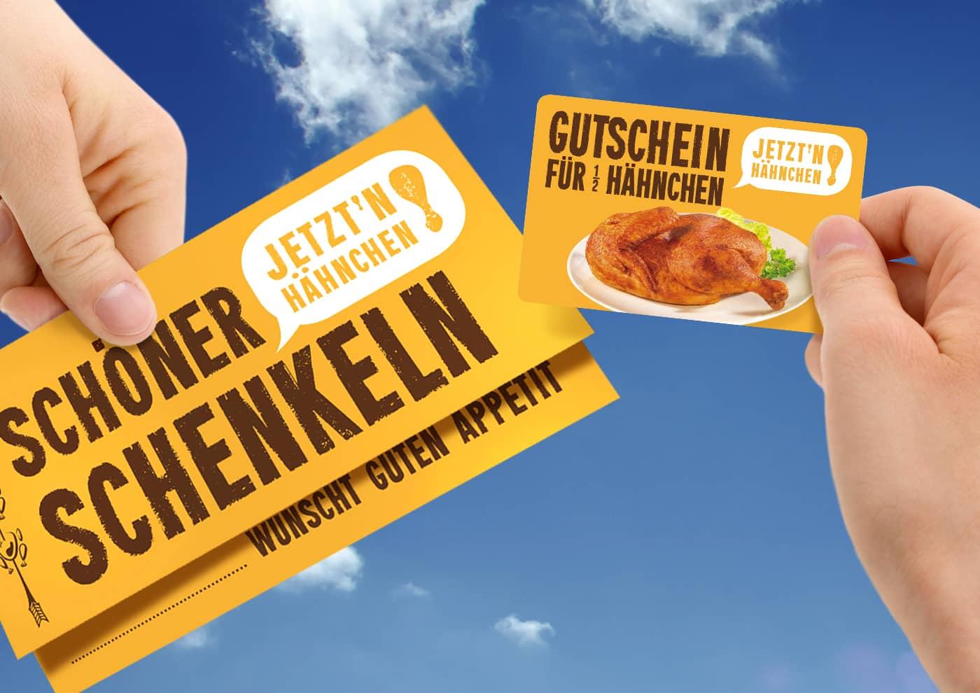 """Markenentwicklung und -betreuung für """"Jetzt 'n Hähnchen!"""" - Gutscheine"""