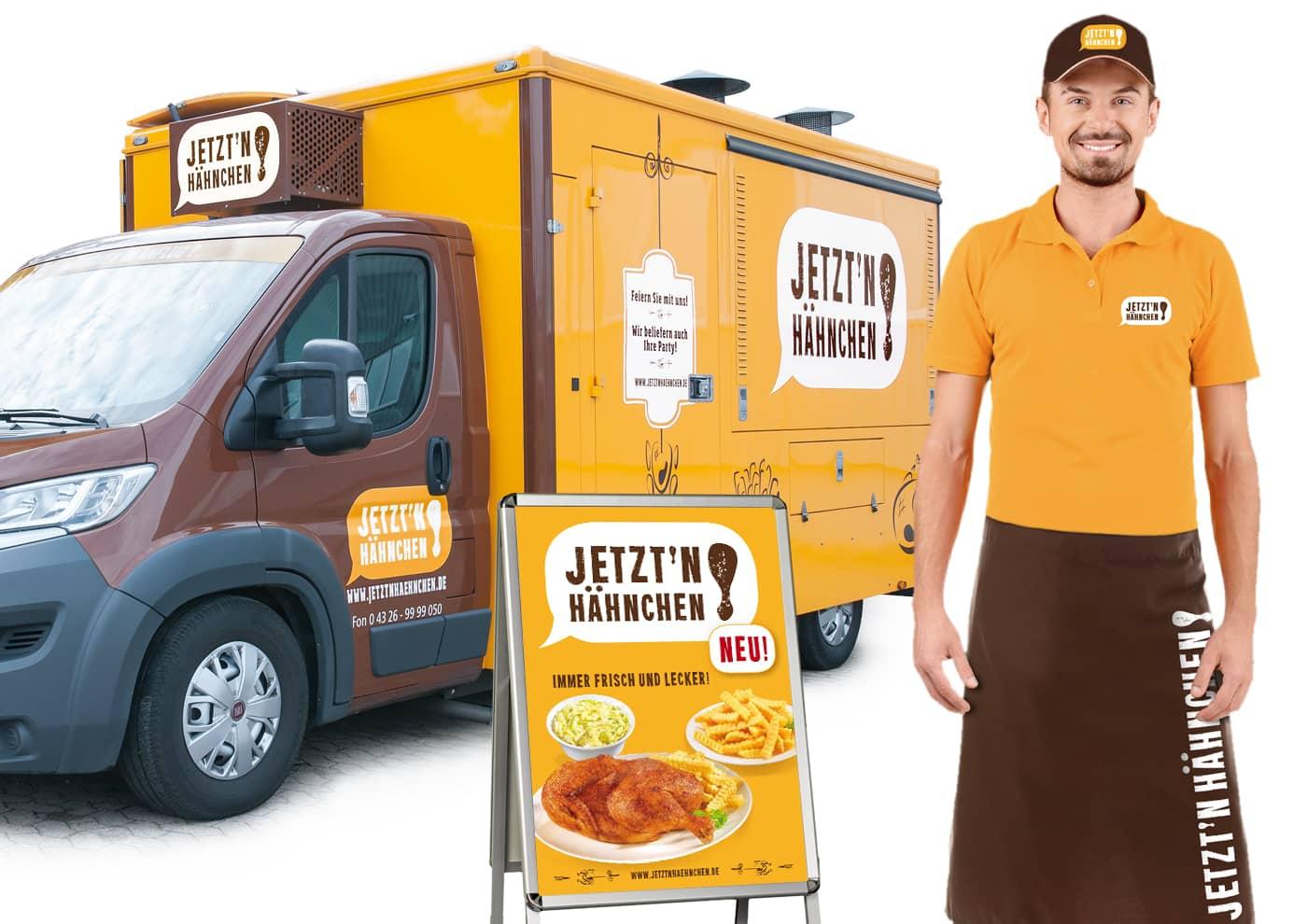 """Markenentwicklung und -betreuung für """"Jetzt 'n Hähnchen!"""" - Mitarbeiterkleidung"""