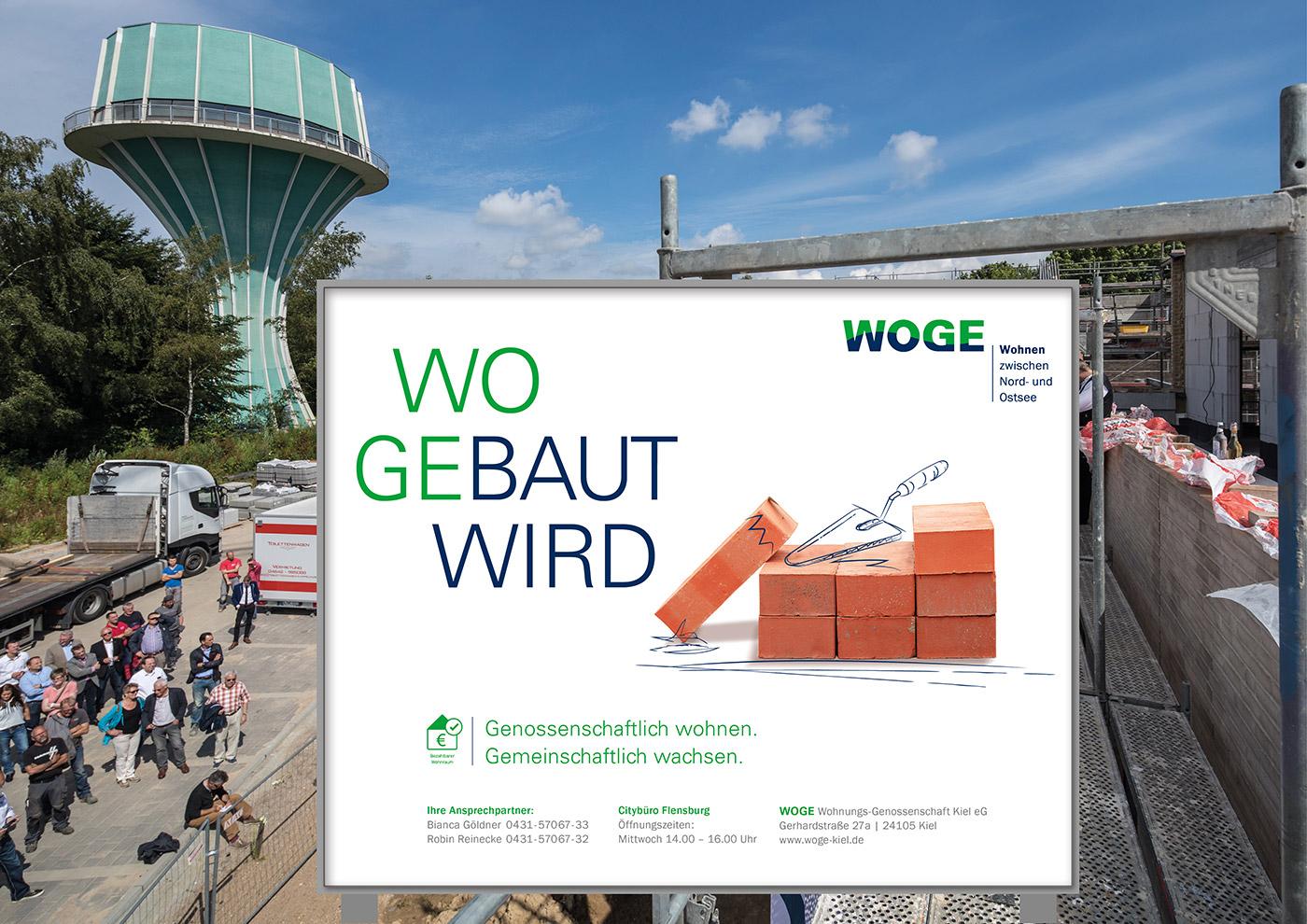 Corporate Design und Kommunikation für die WOGE Kiel: Plakat