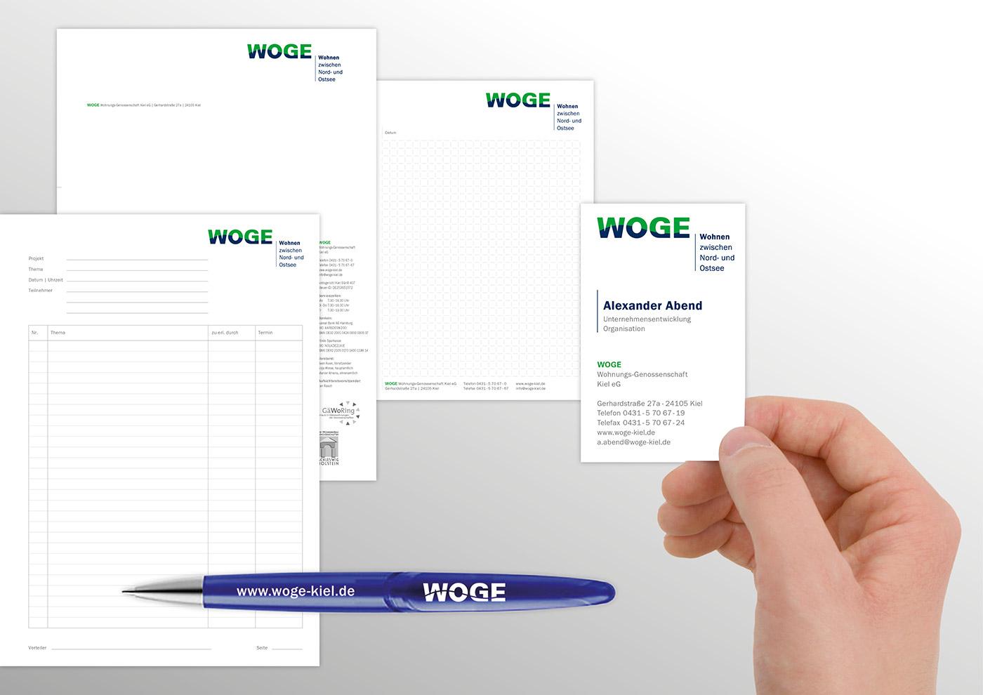 Corporate Design und Kommunikation für die WOGE Kiel: Werbemittel