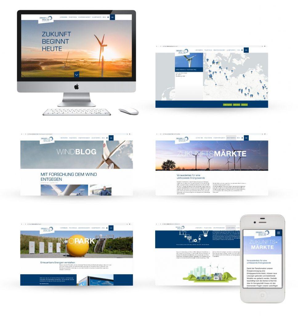 Moderne Unternehmens-Website im Corporate Design der Denker & Wulf AG