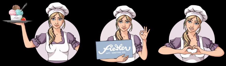 Handgemachte Illustrationen für Café Fiedler